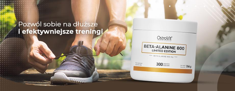 Właściwości przedtreningowe Beta-Alaniny - pobudzenie, efekt zwiększenia wytrzymałości mięśniowej, oraz zmniejszenie uczucia zmęczenia.