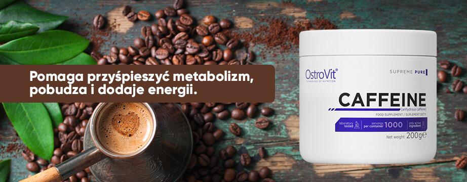 Kofeina znana jest ze względu na silnie pobudzające działanie. Poprawia koncentrację i wpływa na nasz nastroj. Pomaga przyśpieszyć metabolizm, oraz wspiera redukcję tkanki tłuszczowej.