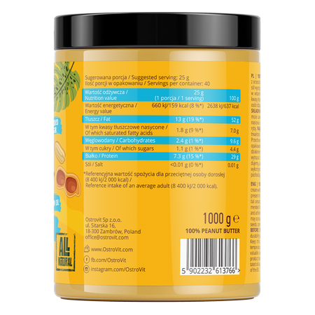 OstroVit Peanut Butter 100% Smooth 1000 g